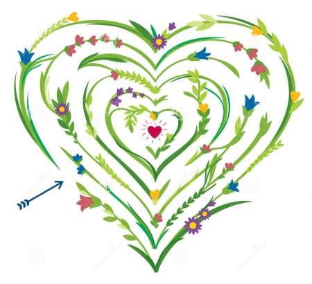 labyrinthe-en-forme-de-coeur-avec-les-éléments-floraux-37671300